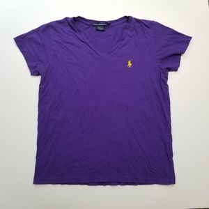 Polo Purple V Neck Logo T Shirt
